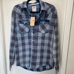Levi's Classic Western Blue Flannel Cotton Shirt